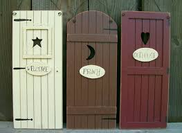set 3 primitive country outhouse door signs welcome privy