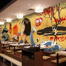 Custom Size Photo Japanese Cartoon Character Wallpaper Style Restaurant Retro Building Hot Pot Barbecue Mural In Wallpapers From Home