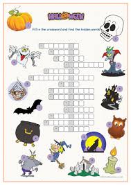 Short Halloween Riddles And Answers by Halloween Crossword Puzzle Worksheet Free Esl Printable