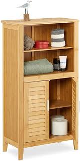 relaxdays badezimmerschrank bambus hbt ca 92 x 50 x 25 cm badschrank mit türen in lamellen optik natur 1 stück
