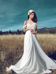 Floral Applique Off The Shoulder A Line Chiffon Destination Wedding Dress