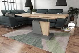 design couchtisch tisch grand noir sonoma eiche grau stufenlos höhenverstellbar ausziehbar 120 bis 180cm esstisch