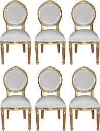 casa padrino luxus barock esszimmer set medaillon weiß gold 50 x 52 x h 99 cm 6 handgefertigte esszimmerstühle barock esszimmermöbel