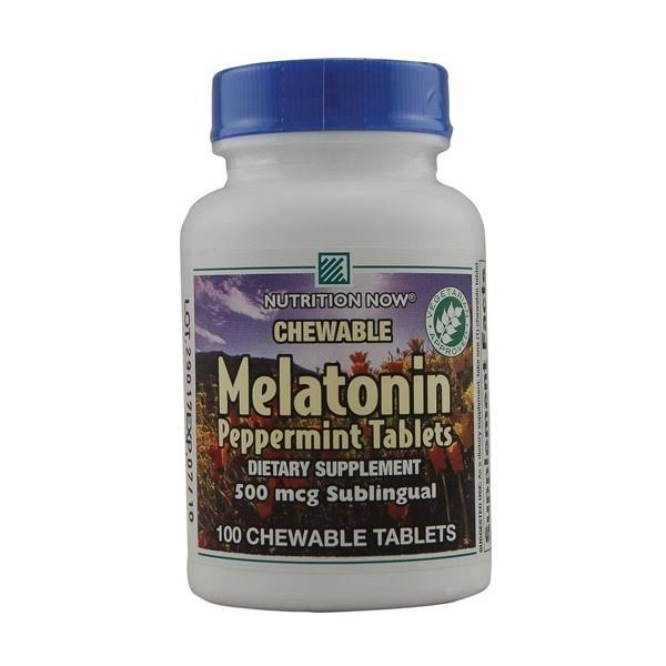 Nutrition Now Melatonin Peppermint Tablets - 500mcg, 100 Chewable Tablets