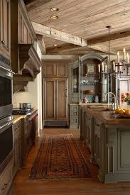 Attractive Dark Wooden Kitchen Cabinetry Sets With Chandle Hanging Lamps Over Long Square Grey Island As Decorate In Galley Rustic Ideas