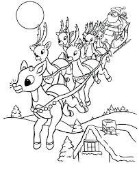 Reindeer Head Coloring Pages Printable Santa