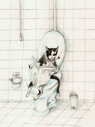 Funny Bathroom Art Etsy by Cat Reading Newspaper On The Toilet Art Print Of Watercolor