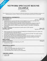 Network Specialist Resume Example