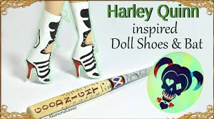 diy barbie doll harley quinn inspired shoes boots u0026 bat youtube