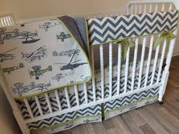 Airplane Crib Bedding Boy Baby Bedding Bumperless Bedding