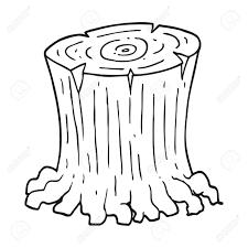 Freehand Drawn Black And White Cartoon Big Tree Stump Royalty Free