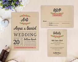 Wreath Wedding Invitation Set Printed On Kraft Cardstock Invite RSVP Postcard Enclosure Card