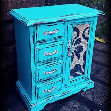 Shabby Chic Jewelry Box Distressed Rustic Aqua