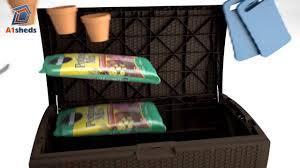 Suncast 195 Gallon Deck Box Manual by Suncast Uk Dbw9935 Extra Large Deck Box Youtube