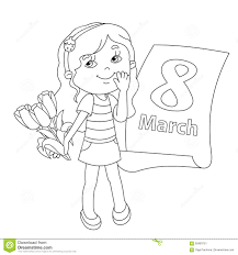 Royalty Free Vector Download Coloring Page Outline Of Girl With Flowers March 8