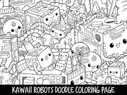 Kawaii Coloring Pages Robots Doodle Page Printable Cute Crush Colouring