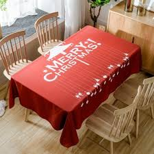 Merry Christmas Tree Print Fabric Waterproof Table Cloth