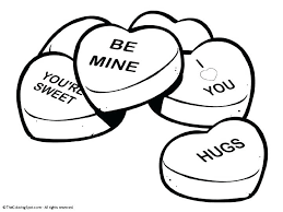 Full Image For Printable Valentine Coloring Pages Hello Kitty Candies Conversation Hearts Page Free