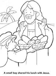 Loaves And Fishes Coloring Page Jesus Feeds 5000Pictures