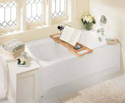 teak bathtub tray caddy for reading with wine and book holder plus