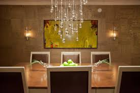 Contemporary Dining Room With Droplet Crystal Chandelier And Handmade Wallpaper