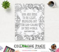 Bible Verse Printable Coloring Page Matthew 516 Instant Download Pages Quote Adults Book