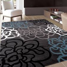 grey and white area rug luxury contemporary modern floral flowers