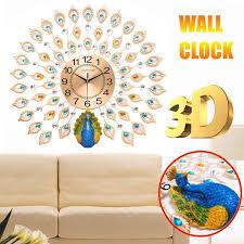 Large 3D Diamond Crystal Quartz Peacock Wall Clocks European Modern Design For Home Living Room