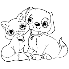 Cat And Dog Coloring Pages At