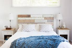 Wood Panel Headboard Becomes A Key Element In The Shabby Chic Bedroom Design