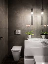 Contemporary Powder Room Decor With White Modern Water Closet Floating Style Also Sink Design Color And Granite Material