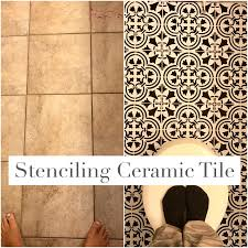 paint ceramic tile with stencil and chalk paint how to update