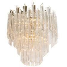 Lucite and Brass Mid Century Chandelier NYShowplace