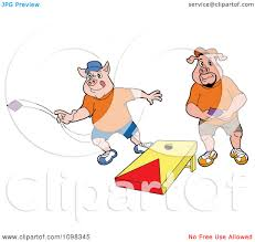 Clipart Two Pigs Playing Cornhole Bean Bag Toss
