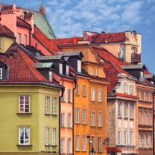 100 Townhouse Facades Old Town Of Warsaw Poland