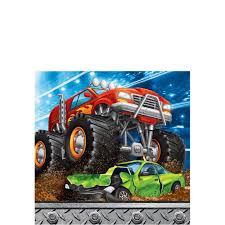 100 Monster Truck Decorations Beverage Napkins 16ct