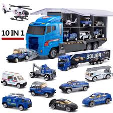 100 Toy Car Carrier Truck Kids 10 In 1 Police Transport Mini DieCast Plastic Play Vehicle In Rier Set Mini S For Kid Children