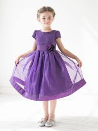 purple girls floral lace bodice organza dress wedding ideas