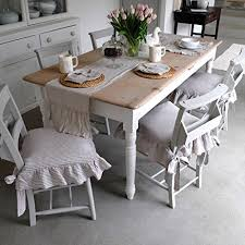 Shabby Chic Dining Room Chair Cushions by Amazon Com Seat Cover Linen Chair Cover Ruffled Chair Cover