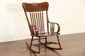 Rocking Chair, 1900 Antique Elm & Oak Large Rocker