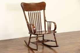 Rocking Chair, 1900 Antique Elm & Oak Large Rocker
