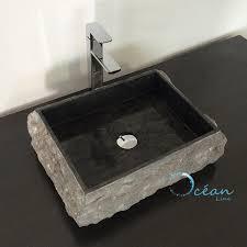 vasque à poser rectangulaire 50 cm en marbre noir va ma