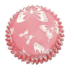54 Pink Blush Butterfly Baking Cases Cupcake Amazoncouk Kitchen Home