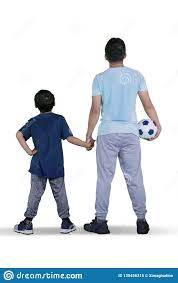 100 Studio Son Father And Child Holding A Soccer Ball On Stock Image