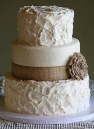 Rustic Wedding Cake With Burlap Ribbon And Flower I Like The Bc U Want That On Wine Bottles Would Add Color Of Pastel To
