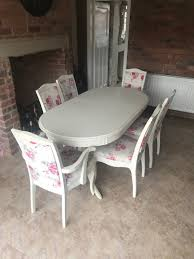 Shabby Chic White Extendable Dining Table With 6 Pink Floral Chairs | In  Middleton, West Yorkshire | Gumtree Roseberry Shabby Chic French Country Cottage Antique Oak Wood And Distressed White 7piece Ding Set Four Stripy White Blue Shabbychic Ding Chairs Hand Painted Finished In Woking Surrey Gumtree Table Chairs Best Of Ripley Chair Pine Round Room Height Lights Ballad Decoration Tables Balloon Back Antique White French Chic Ornate Ding Table Set With Decor Cozy Slipcovers For Inspiring Interior My Home Room Ideas Chic Diy Shabby Chrustic Chair Basil Chaise
