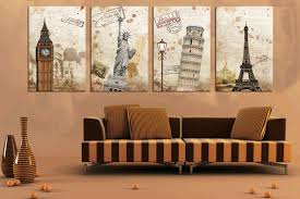 Full Size Of 4 Panel Set Tower Canvas Prints Wall Art Decor Brown Stripes Long Sofa