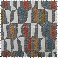Grey Geometric Pattern Curtains by Quality Soft Woven Jacquard Chenille Fabric Grey Orange Yellow