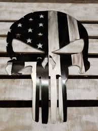 SS Powder Coated American Flag Punisher Skull Industrial Rustic Police Sign Military