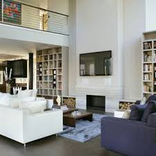 Example Of A Mid Sized Minimalist Open Concept And Formal Slate Floor Living Room Design